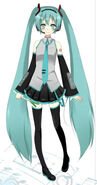 Hatsune Miku with a green onion in her hand