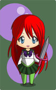 Ariel holding a big sword in her sailor self