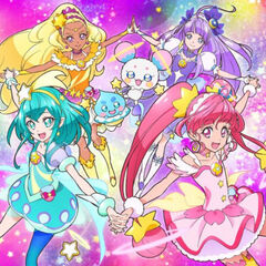 The Four Glitter Force Girls with Fluffy and Prudence