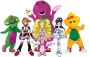Barney, Baby Bop and BJ with Cure Black, Mepple, Cure White, Mipple, Shiny Luminous, Porun and Lulun