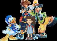 Sora, Donald, Emmy, and Goofy
