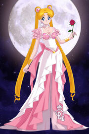 Serena Tsukino in a pink and white dress of sympathy