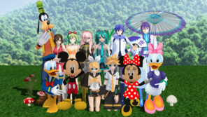Miku Hatsune and the Vocaloids with Mickey Mouse and friends
