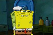 Spongebob grins.