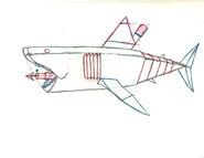 Mechanical great white shark pose a