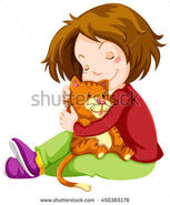 Stock-vector-little-girl-hugging-pet-kitten-illustration-450365176