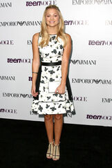 Olivia Holt in a Black and White Dress