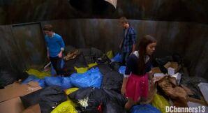 Garrett, Logan, and Jasmine in the dumpster