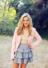 Olivia Blue Skirt and Pink Jacket