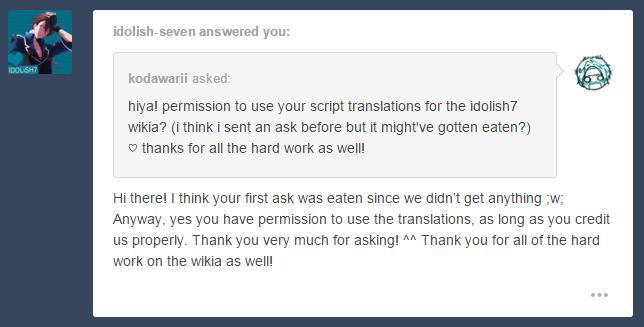 Permission- idolish-seven (tumblr)