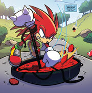 Knuckles defeats Death Egg Robot sentinel