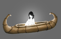 Glowing kid with black hair on a reed boat by littlecutter-dc68565