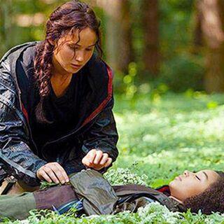 Katniss układająca kwiaty na ciele dziewczynki.