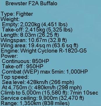 F2A Buffalo specs