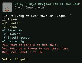 Shiny Risque Brigand Top of the Bear