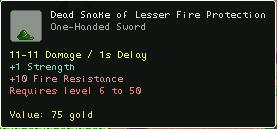 Dead Snake of Lesser Fire Protection