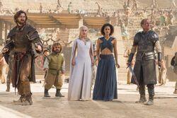 Daario, tyrion, daenerys, missandei and jorah stagione 5