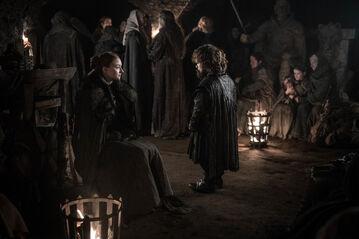 Sansa e Tyrion nelle cripte