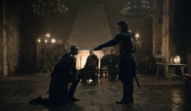 Jaime rende Brienne un cavaliere