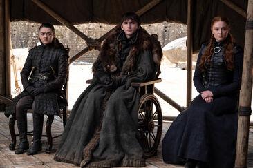 Arya Bran Sansa Gran Concilio S8 Ep6