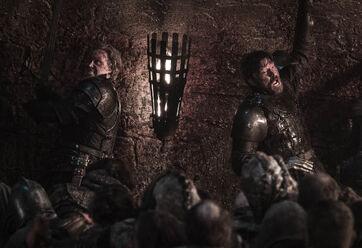 Brienne e Jaime battaglia di Winterfell