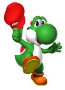 Yoshi wearing mario's hat