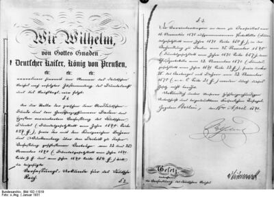 First and last page of Germanian Imperial Consistution in Germanian