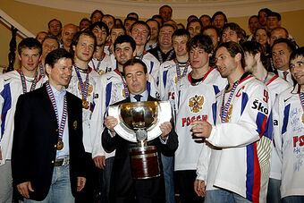 Prime Minister with ice hockey team.