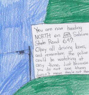 A notice along Salviana 649