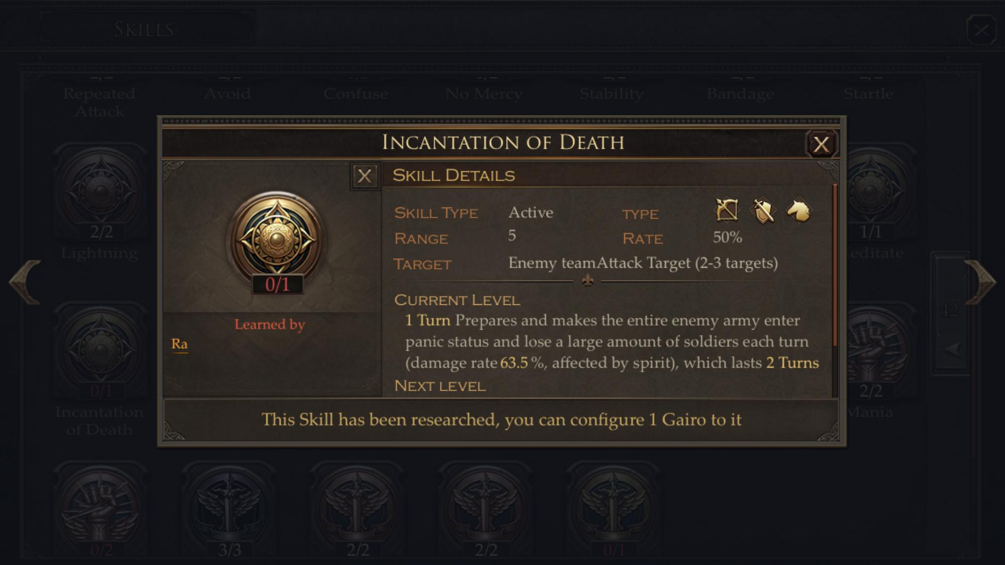 immortal conquest gairo combinations