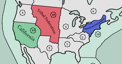 Columbia (blue) in the United States