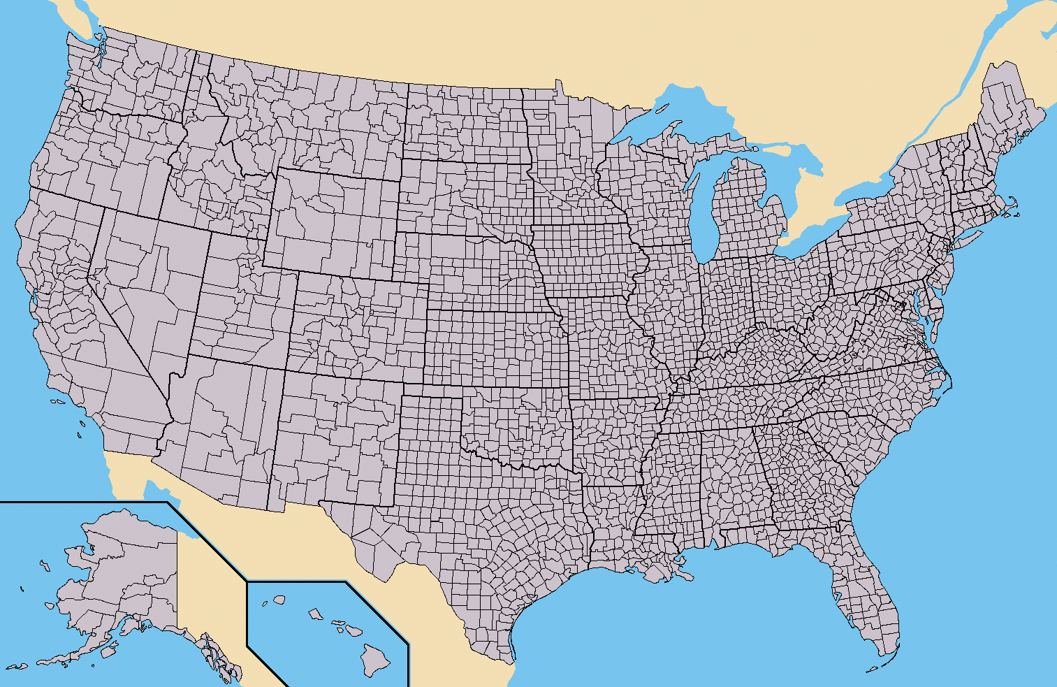 Image Map of USA with county outlinespng Implausable