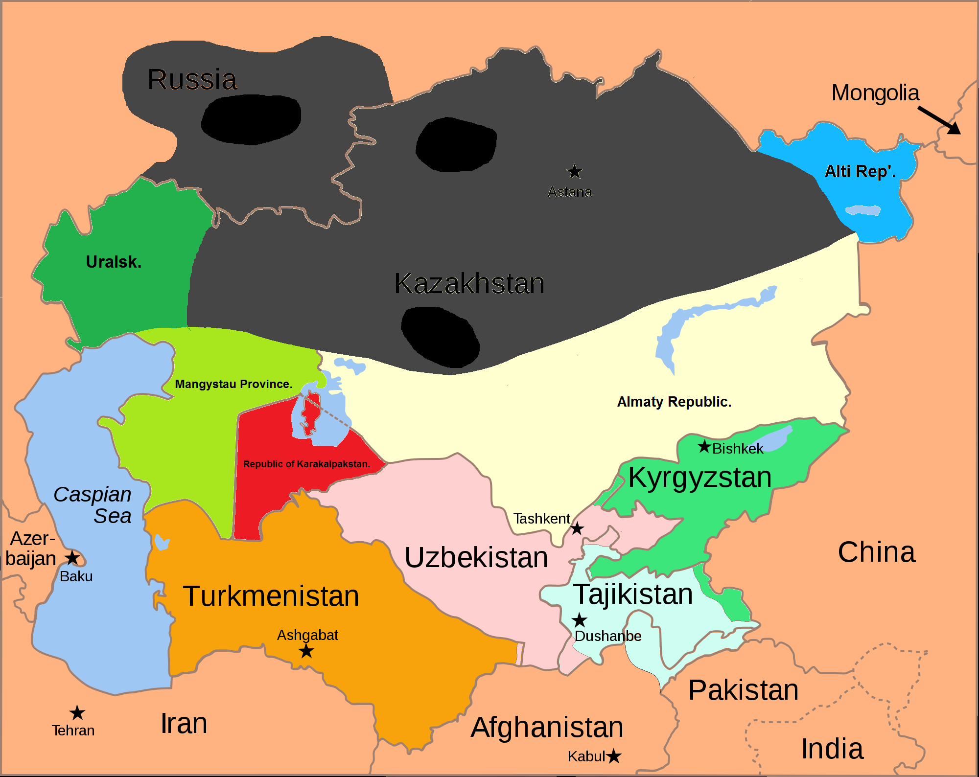 Image DD Central Asia Political Map Png Implausable - Central asia political map