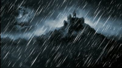 Stock-footage-scary-dark-castle-animation-showing-painting-of-dark-castle-at-midnight