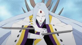 Kaguya usando los Huesos Pulverizadores