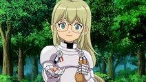 Jeanne handing out candy