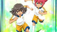 Riccardo and Gabi playing soccer