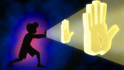 Sakanoue explaining Super God Hand