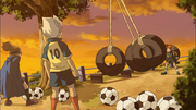Gouenji and Kidou helping Endou train