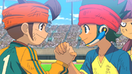 Kanon and Mamoru shaking hands