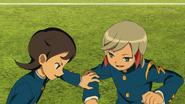 Ichino and Aoyama playing soccer