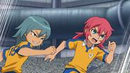 Kariya joining Kirino to stop the opponent