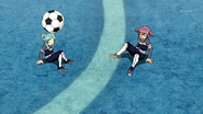 Beta and Alpha hit each other while following Kami no Takuto