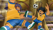 Amagi and Kurumada being beaten by Dragonlink shoot
