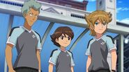 Ichinose, Domon, and Mark in Navy Invader Uniform