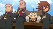 Some Teikoku players watching the selection match