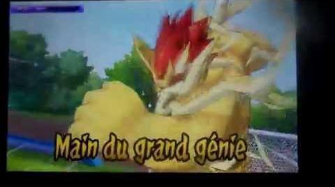 Inazuma ElevenGo Lumière Majin Le Grand Génie Main du Grand Génie vs Surt géant du feuTempète de Feu-1