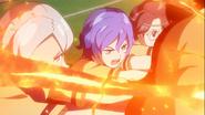 EP06 Ares - La defensa de la Seisho bloqueando el Tornado de Fuego de Axel
