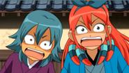 Midori y Kariya con miedo