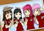 FFoto de reccuerdo;Flora,Aika,Elliare y Kyoka